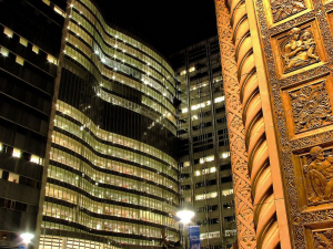The Gonda Building at night, as seen from the doors of the Plummer Building, Mayo Clinic, Rochester, MN